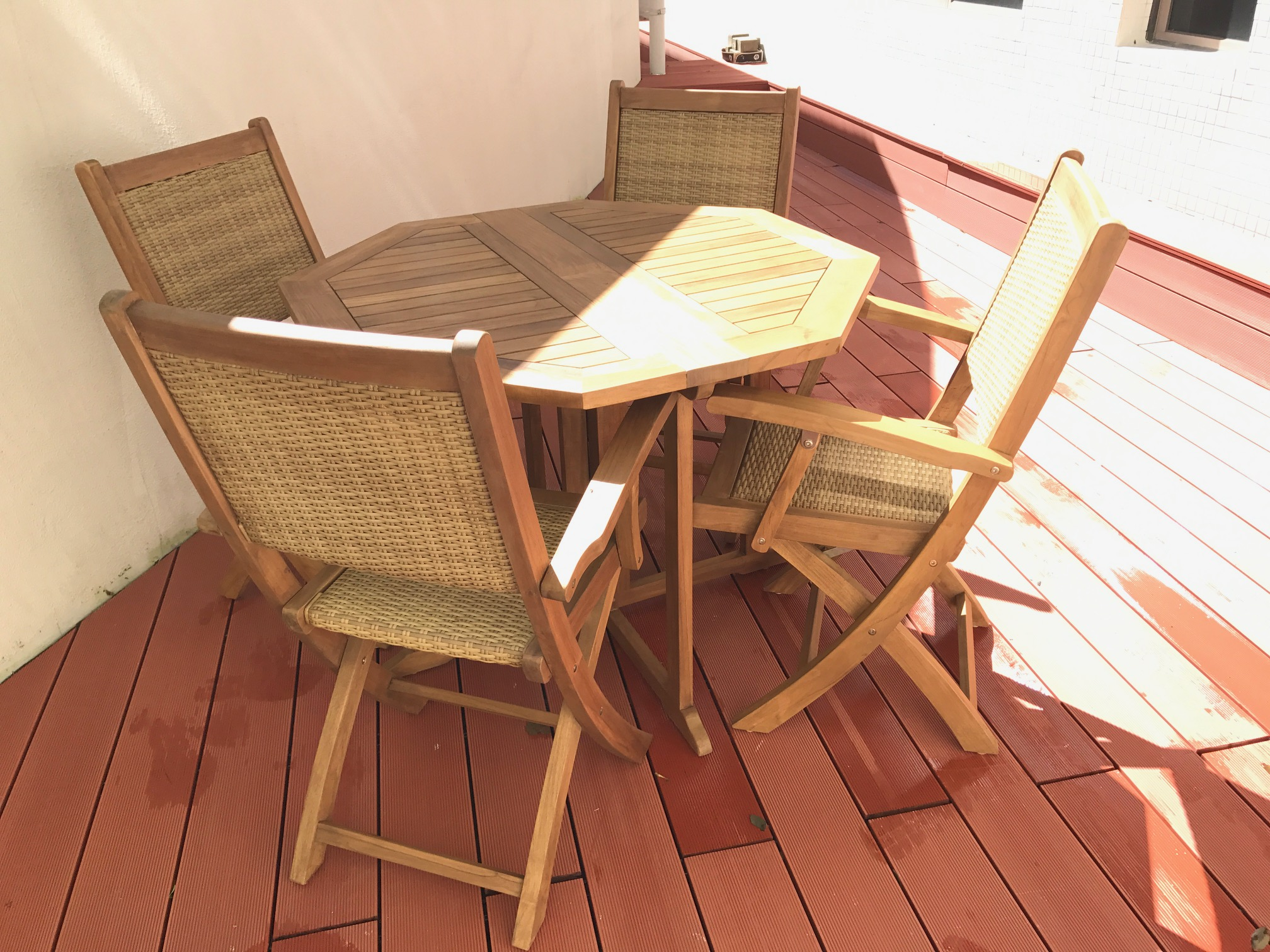 Grade a teak wood oct butterfly folding table sets